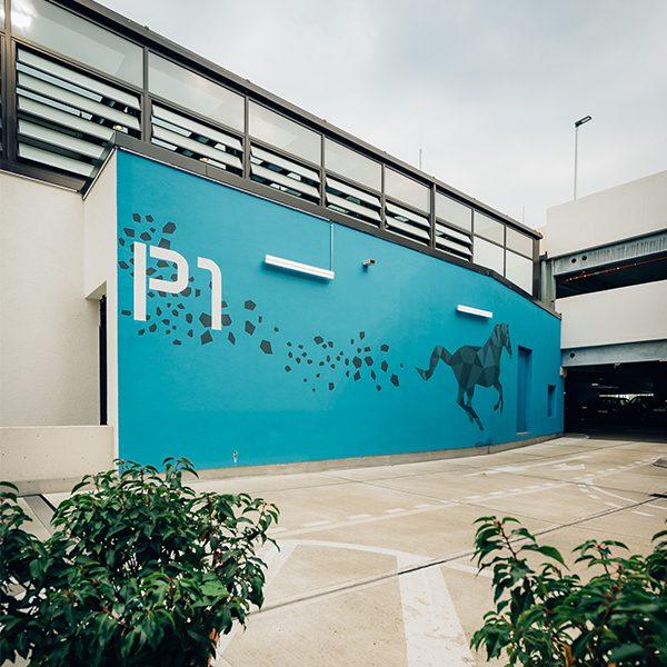 Parkhaus Emsgalerie, Rheine – große Flächen und geometrische Formen liegen uns
